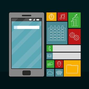 Smartphone con menú de aplicaciones móviles