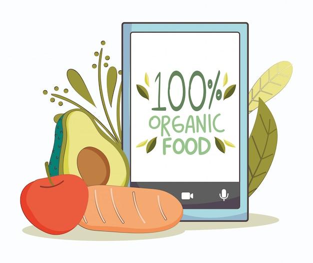 Smartphone de mercado fresco de aguacate, zanahoria y tomate, alimentos orgánicos saludables con frutas y verduras
