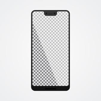 Smartphone mock up con pantalla en blanco sobre blanco