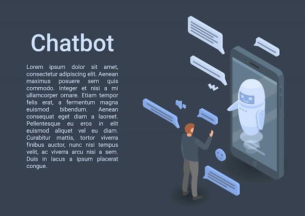 Smartphone moderno concepto de chatbot banner, estilo isométrico