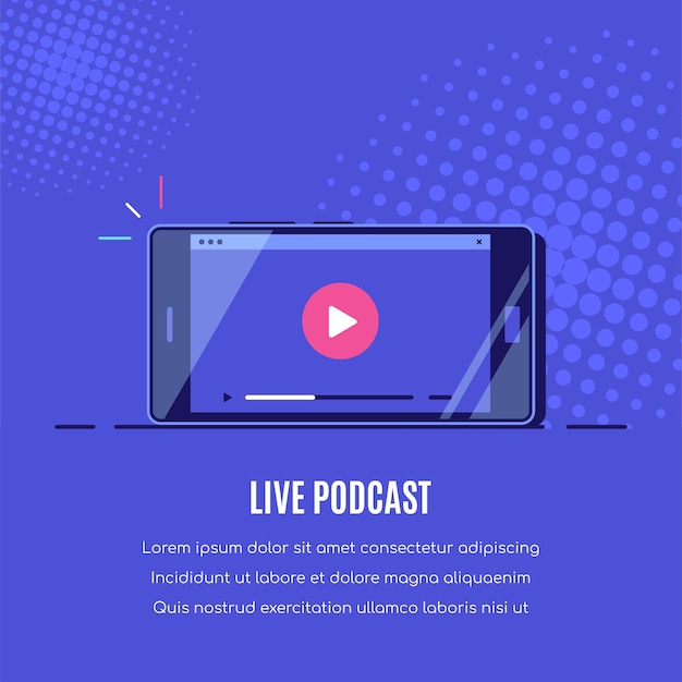 Smartphone moderno con reproductor de vídeo online en pantalla. transmisión móvil, podcast en vivo, video móvil, tv.