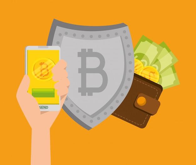 Smartphone con moneda bitcoin y escudo con billetes