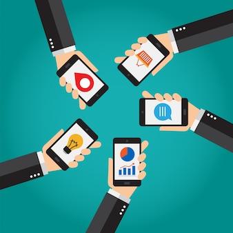 Smartphone móvil, conexiones y aplicaciones