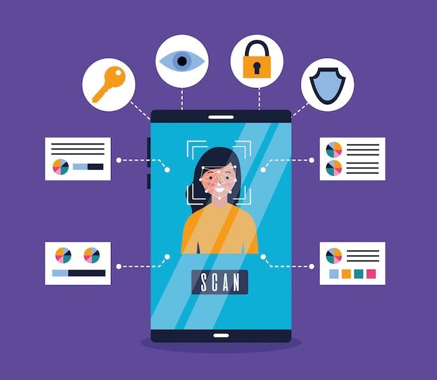 Smartphone mujer reconocimiento de escaneo biométrico