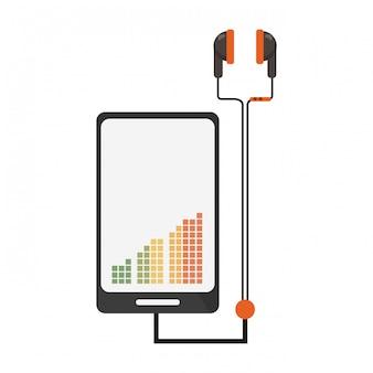 Smartphone con música y auriculares.