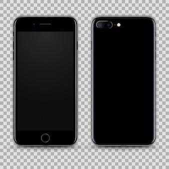 Smartphone negro realista aislado en fondo transparente. vista frontal y trasera
