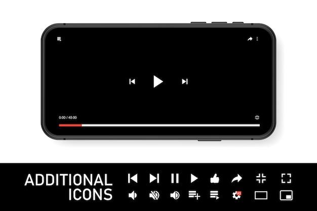 Smartphone negro con reproductor de youtube en pantalla. diseño moderno. ilustración vectorial. eps10.
