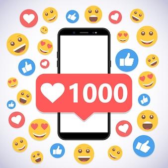 Smartphone con notificación 1000 likes y sonríe para redes sociales.