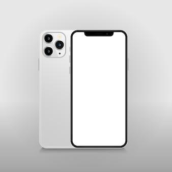 Smartphone con pantalla en blanco en blanco.