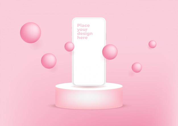 Smartphone de pantalla en blanco en el podio sobre fondo rosa.