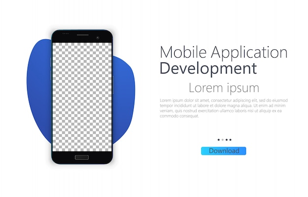 Smartphone pantalla en blanco, teléfono. plantilla para diseño de interfaz de usuario. desarrollo de aplicaciones móviles
