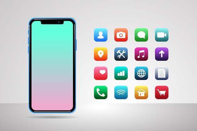 Smartphone con pantalla realista con algunas aplicaciones