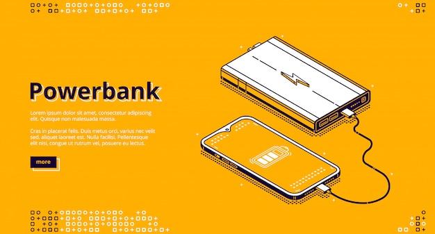 Smartphone powerbank cargando aterrizaje isométrico