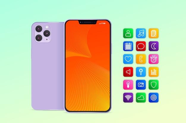 Smartphone realista con diferentes aplicaciones.