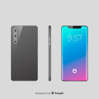 Smartphone realista en diferentes posiciones.