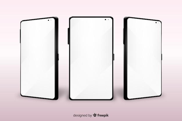 Smartphone realista en diferentes puntos de vista