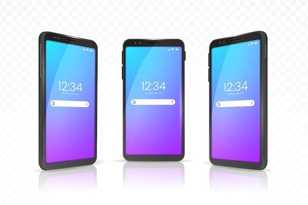 Smartphone realista con estuche en diferentes vistas