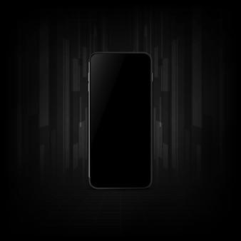 Smartphone realista con pantalla en blanco