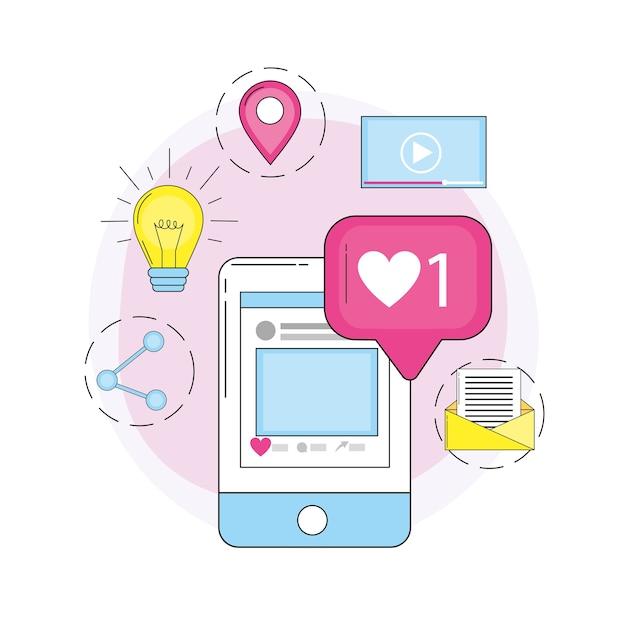 Smartphone en redes sociales y mensaje de chat.