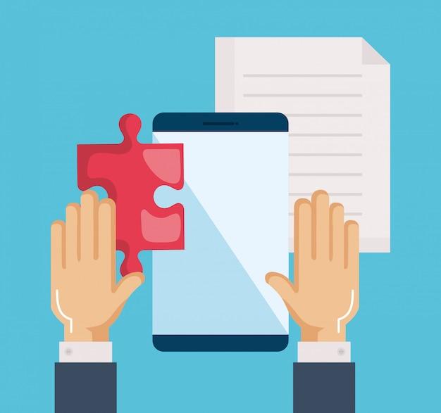Smartphone con rompecabezas, documento y manos