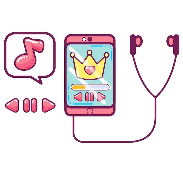 Smartphone rosa con audífonos y símbolos musicales.
