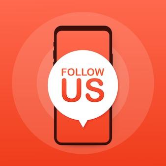 Smartphone con seguirnos bocadillo de diálogo.