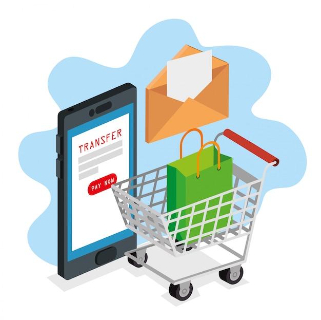 Smartphone con sobre y carrito para comprar en línea