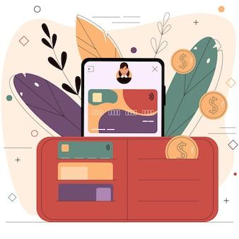 Smartphone con una tarjeta bancaria en la pantalla y una billetera con monedas abiertas