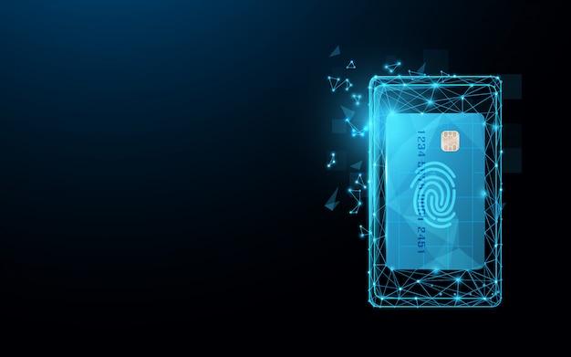 Smartphone con tarjeta de crédito de líneas, triángulos y partículas.