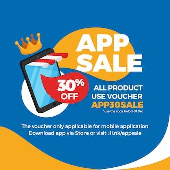 Smartphone con toldo de tienda a rayas para venta de aplicaciones de comercio electrónico, promoción de banner de descuento de cupón.