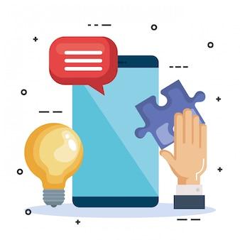 Smartphone con trabajo en equipo