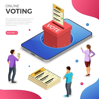 Smartphone con urna, elector y papeleta. concepto de votación electrónica en línea de internet. iconos isométricos. plantilla de página de destino. aislado