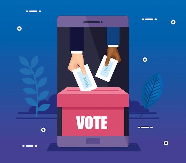 Smartphone para votar en línea con manos y urna