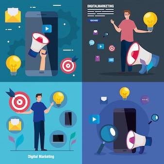 Smartphones y avatares de hombres con conjunto de iconos de marketing digital