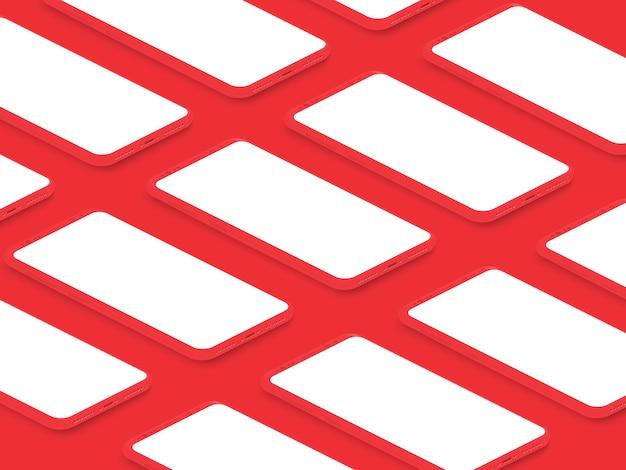 Smartphones brillantes rojos realistas isométricos con cuadrícula de pantalla en blanco