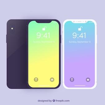 Smartphones con fondo degradado