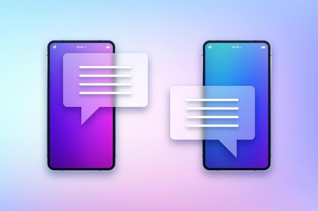 Smartphones con ilustración de aplicaciones de chat transparente