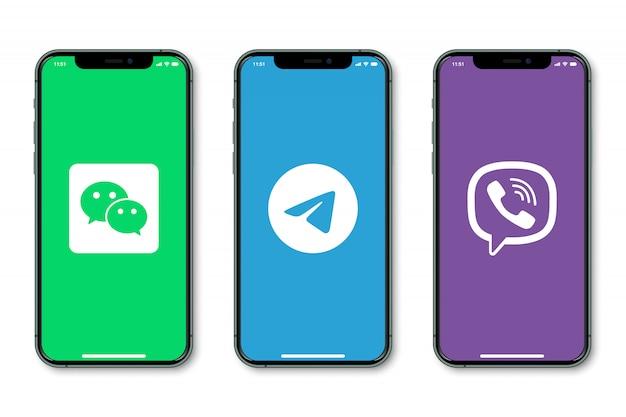 Smartphones con logo de redes sociales en pantalla