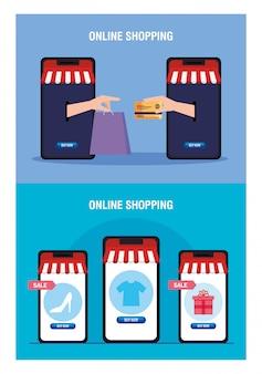 Smartphones con manos de carpa con bolsa de tarjeta de crédito y conjunto de iconos