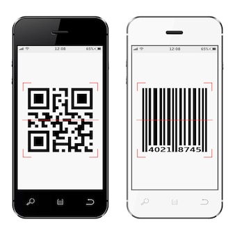 Smartphones con qr y código de barras en pantalla aislado sobre fondo blanco.