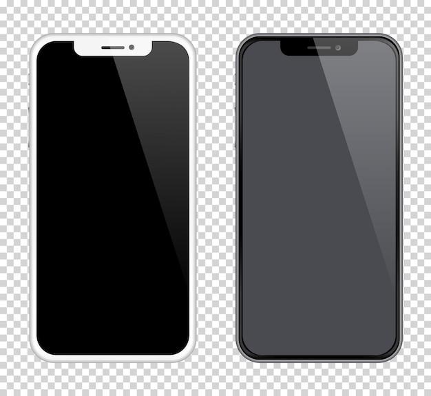 Smartphones realistas maquetas en color blanco y negro.