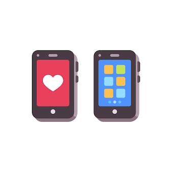 Smartphpones con me gusta y aplicaciones. iconos planos de teléfonos móviles