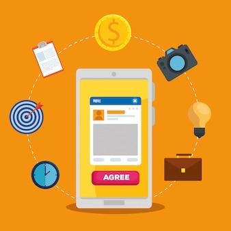 Smartpone con perfil social y mensaje comunitario