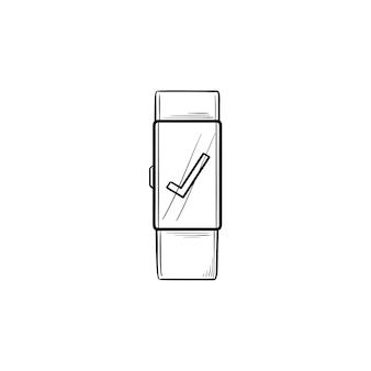 Smartwatch con icono de doodle de contorno dibujado de mano de marca de verificación. reloj digital, gadget, concepto de interfaz de reloj
