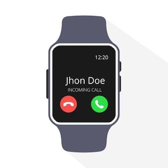Smartwatch con una llamada entrante en la pantalla