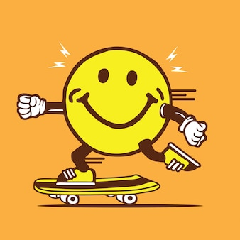 Smiley face skateboarding diseño de personajes