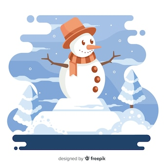 Smiley muñeco de nieve con sombrero y bufanda fondo de navidad