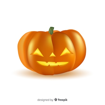 Smiley realista calabaza de halloween