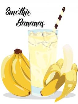 Smothie de hielo de plátano con plátanos realistas