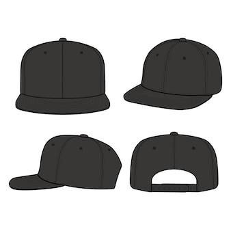 Snapback cap moda plana vector ilustración maqueta diseño